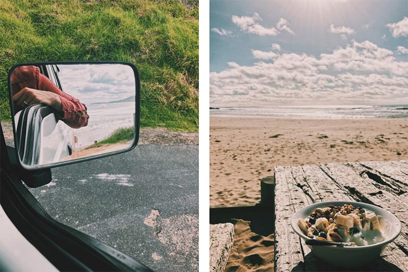 View from the campervans side mirror and a resting spot on the beach